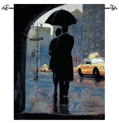 Urban Outings Wall Tapestry Romantic Couple In the Rain Street City Scene, 35in X 42in