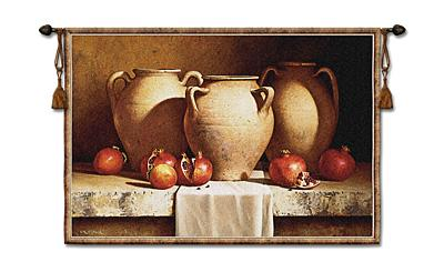 Urns With Pomegranates Fruit Still Life Tapestry Wall Hanging, 53in X 36in