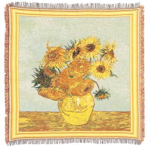 Van Gogh's Sunflowers Tapestry Throw, 55in x 55in