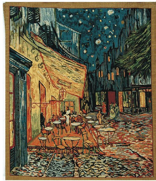 The Cafe Terrace At Night By Van Gogh - Belgian Tapestry Wall Hanging, 34in X 41in