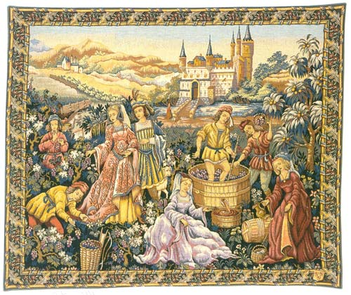 Vendanges Au Chateau Medieval Wall Tapestry - The Wine Making Theme, 36in X 44in