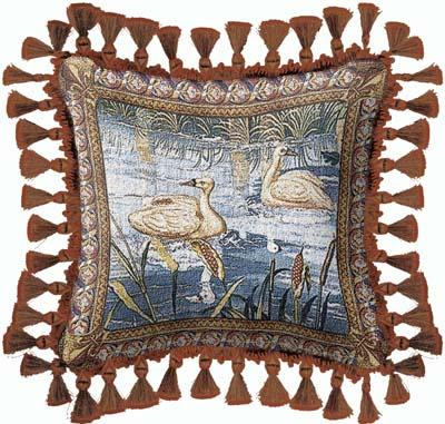 Verdure With Animals Classic Tapestry Cushion - Swans Picture, 27in x 27in