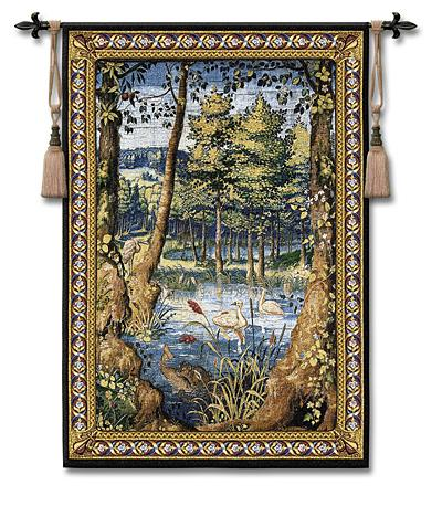 Verdure with Animals Old World Wall Tapestry - Wood Scene With Animals And Swans, 40in x 53in