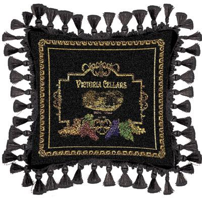 Victoria Classic Tapestry Cushion - Black Styled, 27in x 27in