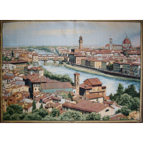 View of Florence and the Arno Italian Tapestry Wall Hanging, 12in X 19in