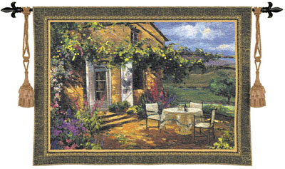 Vineyard Villa Tapestry Wall Hanging - Countryside Picture, 53in x 40in
