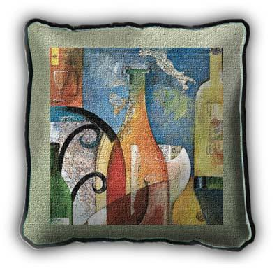 Vino Wine Still Life Tapestry Cushion - Abstract Collage With Bottles, 27in x 27in