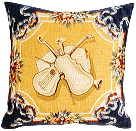 Violins Tapestry Cushion Cover - European Home Decor Collection, 18in x 18in cushion cover