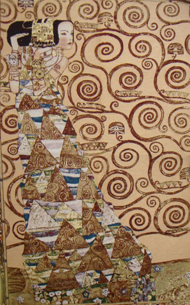 Waiting Klimt III Tapestry Wall Hanging, H43.2in x W28in