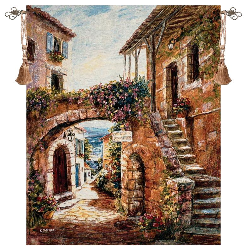 Walk Back In Time Mediterranean Village Picture Tapestry Wall Hanging, 35in X 41in