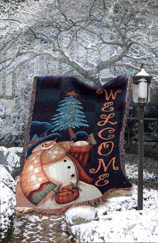 Welcome Snowman Christmas Tapestry Wall Hanging, 51in X 68in