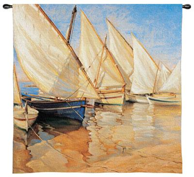 White Sails I Nautical Wall Tapestry - Sailing Ship Picture, 35in x 36in