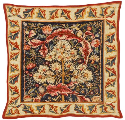 William Morris Acanthus Tapestry Cushion Cover - Classic Home Decor Collection, 18in x 18in cushion cover
