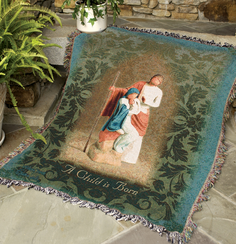 Willow Tree Christmas Tapestry Throw - Nativity Scene, 51in X 68in