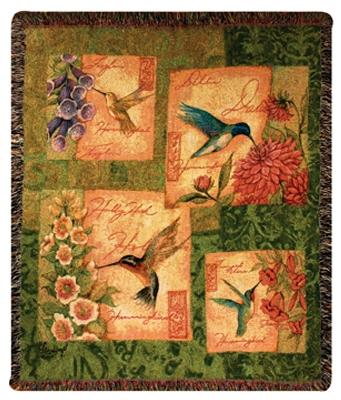 Wings and Blossoms Tapesty Throw, 50in x 60in