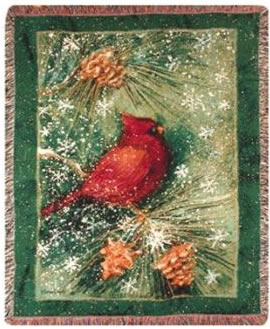 Winter Birds Tapesty Throw, 50in x 60in
