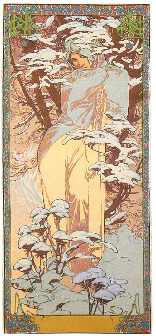Tapestry Winter By Alphonse Mucha - Four Seasons Mucha Reproduction, 19in X 45in