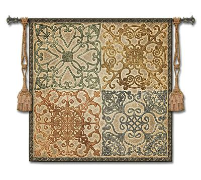 Wrought Iron Elegance Ornamental Wall Tapestry, 44in x 44in