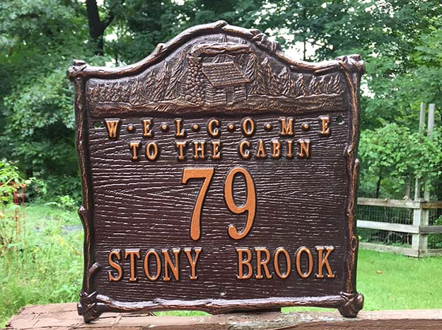 Welcome To The Cabin House Number Sign
