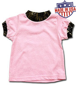 Round House American Made Girls Tee with Camo trim