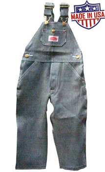 Round House American Made Youth 8-18 overalls - Hickory Stripe