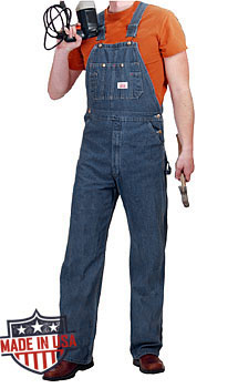 Round House Mens American Made overalls - Stonewash
