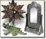 Rustic Metal Lamps, Candleholders, Mirrors and other home accents