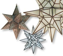 Mexican Star Lights in rustic tin, natural tin and glass