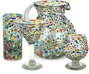 Mexican Glassware - Confetti Pebble Glass