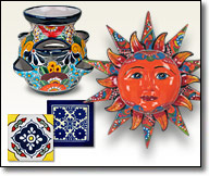 Talavera pots, vases, platters, wall art and tableware from Mexico.