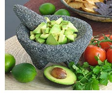 Mexican stone molcajete with avocado