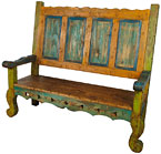 Mexican Painted Wood Benches