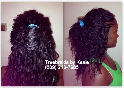 Tree Braids by Kaale- individual treebraids in Medium size using unprocessed Brazilian curly remy hair back, and right side092013.