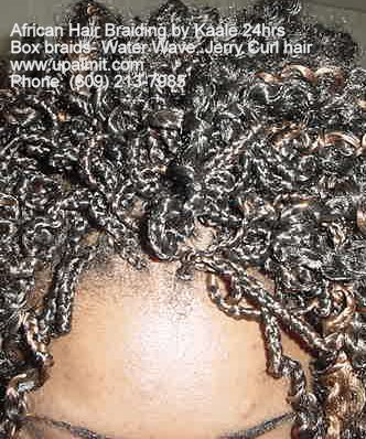 Box braids with curly Water Wave hair, front view, by Kaales African Hair Braiding.