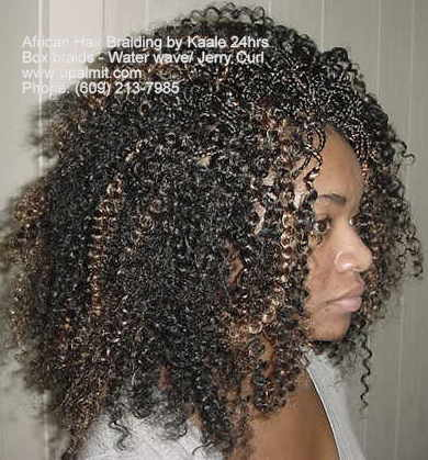 Box braids with curly Water Wave hair, by Kaales African Hair Braiding.