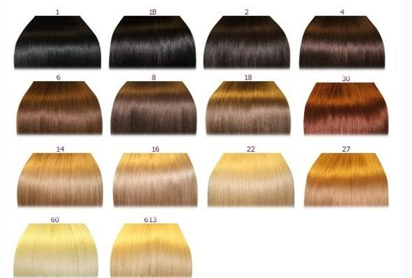 Brazilian human hair color chart.