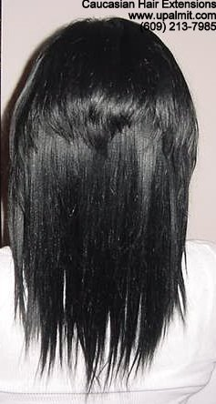 Caucasian hair extensions added for length and volume