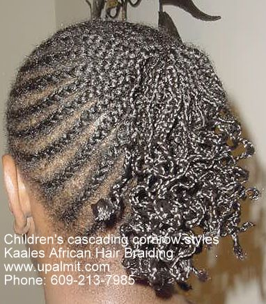 Childrens cornrows with ponytail, cropped view, by Kaale.