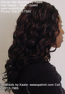 Hair weaves hair extensions- side view closed part.