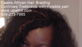 Treebraids with 20 inch long wet and wavy human hair and invisible part- close up.