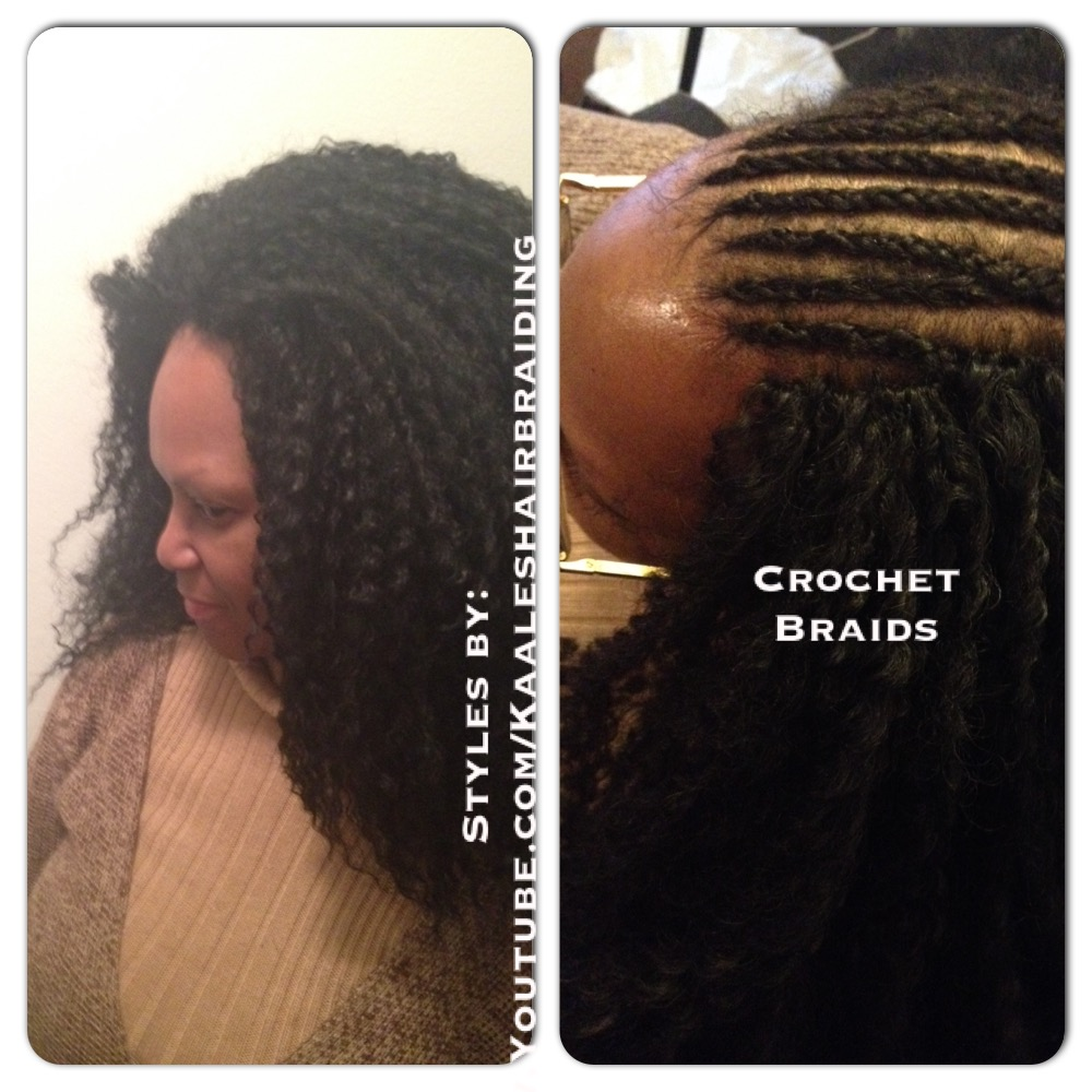 Tree Braids by Kaale- crochet braids using pre-looped loose hair AFTER and BEFORE.