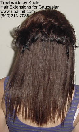 Straight Brown hair extensions for Caucasian- Back11.