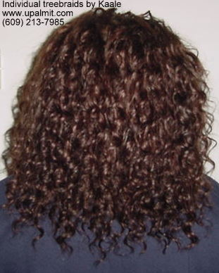 Individual treebraids with wavy hair, back view.
