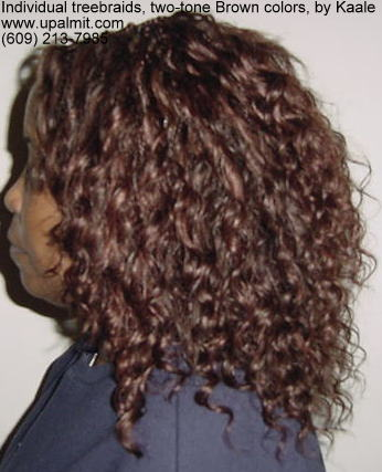 Individual treebraids with wavy hair, left side.