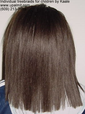 Individual treebraids with straight human hair, back view.