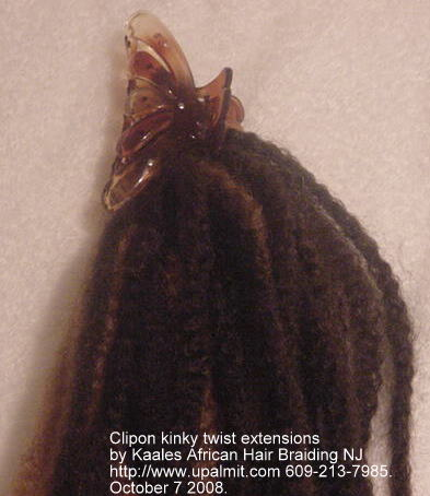 Kinky twist ponytail clipon Kaales African hair braiding.