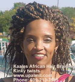 Kinky twist Kaales African hair braiding.