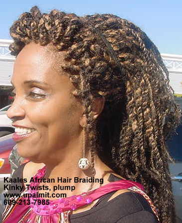 Kinky twist ponytail clipon inserted Kaales African hair braiding.