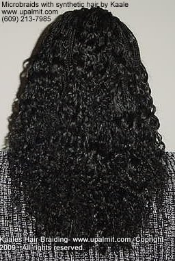 Microbraids with synthetic hair- back view 4.