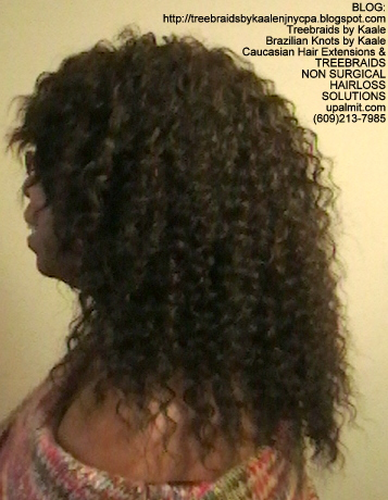 Tree Braids- Cornrows with fluffy Kinky Curly human hair Left.